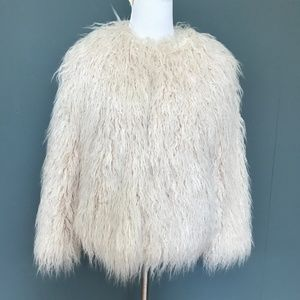 Zara Trafaluc Pink Shaggy Faux Fur Jacket - Medium